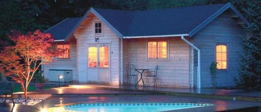 Bzbcabinsandoutdoors wooden shed and cabin kits for Modular pool house