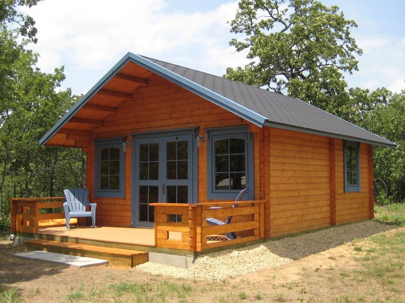 Getaway prefab wooden cabin kit for Two story log cabin kits