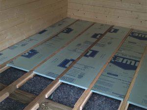 Log Cabin Kit Assembly - Floor Insulation Installation.