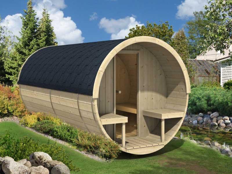 Outdoor barrel sauna kits bzbcabinsandoutdoors for Fishing cabin kits