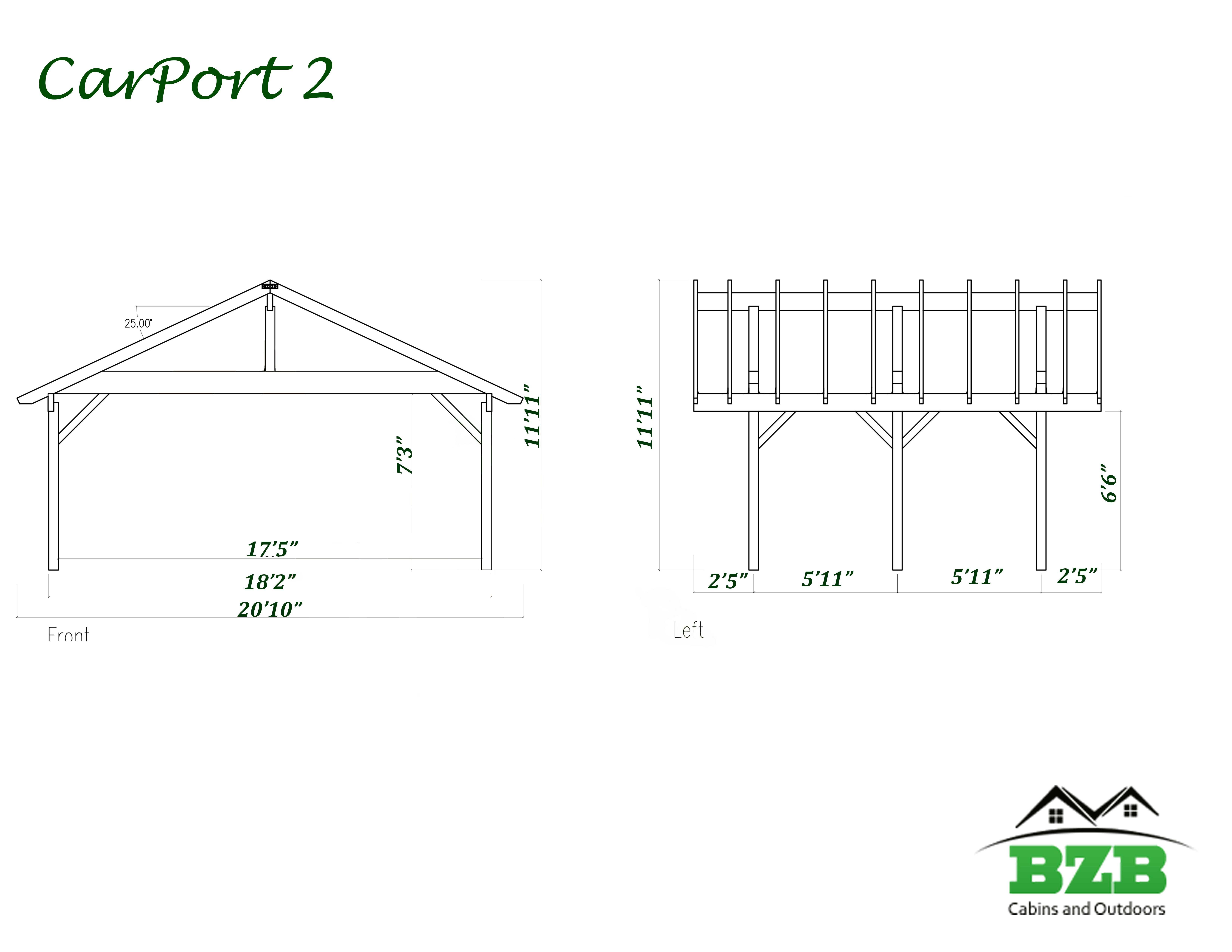 3 Car Carport Dimensions : Carports for sale bzbcabinsandoutdoors