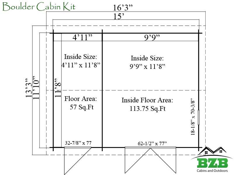 Home / Shop / Cabins / Midsize: 151-250 Sq.ft. / Boulder Cabin Kit
