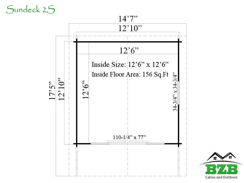 Sundeck 2s cabin kit bzb cabins and outdoors for Sundeck flooring