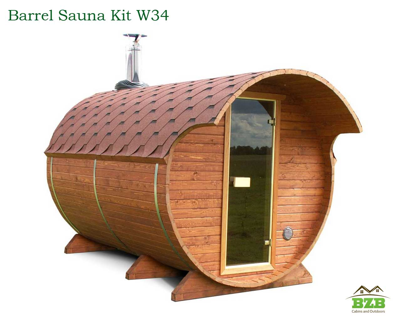 W34 Barrel Sauna Kit 2 Rooms Heater Included Bzb Cabins