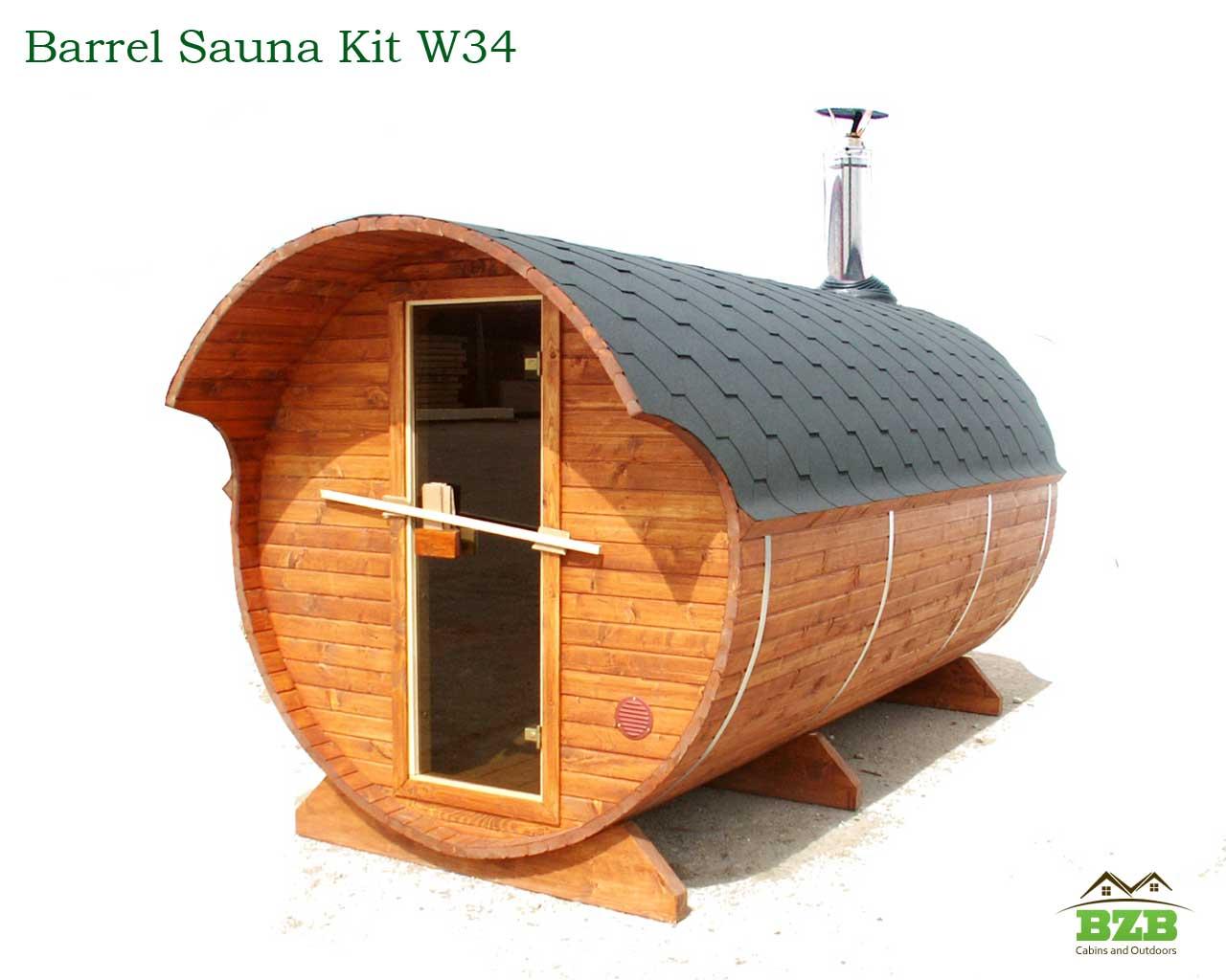 Barrel Sauna Kit W34 2 Rooms Bzb Cabins
