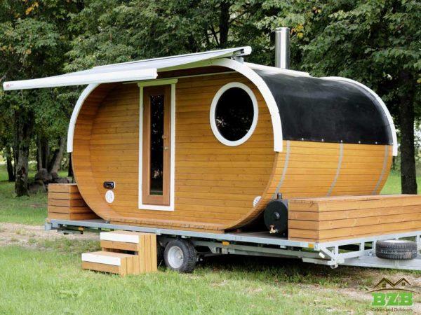 Oval sauna on a trailer