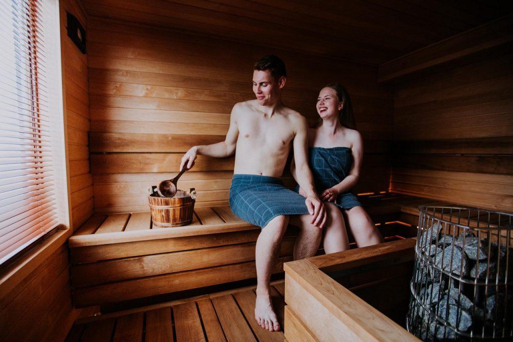 Sitting in a sauna