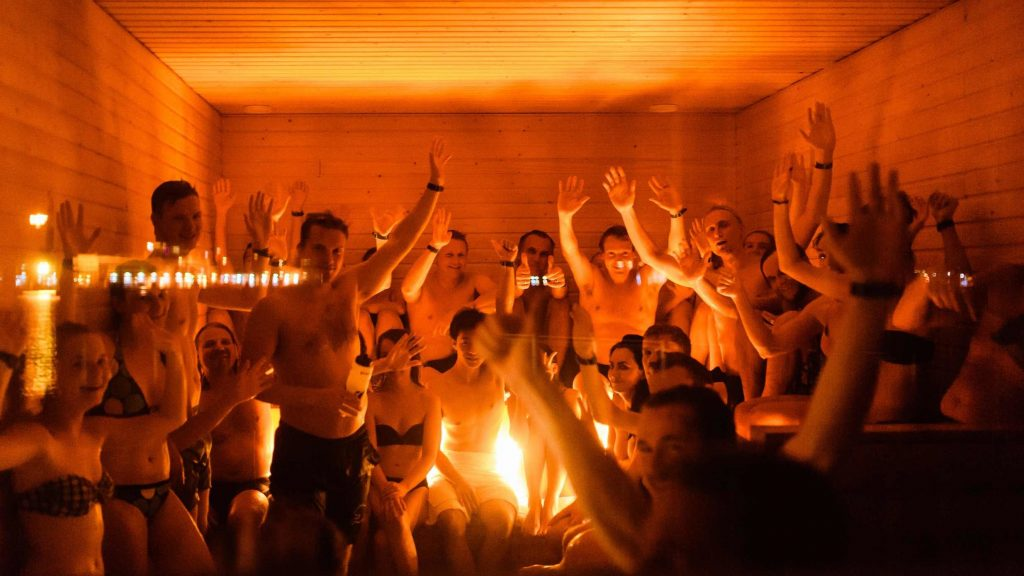 Socializing in a sauna