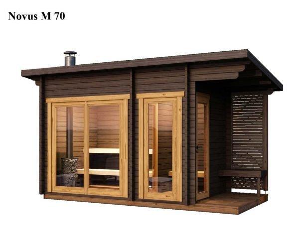 Sauna cabin kit novus M 70 finished brown