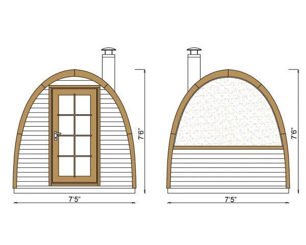 Igloo Lux barrel sauna outside dimensions