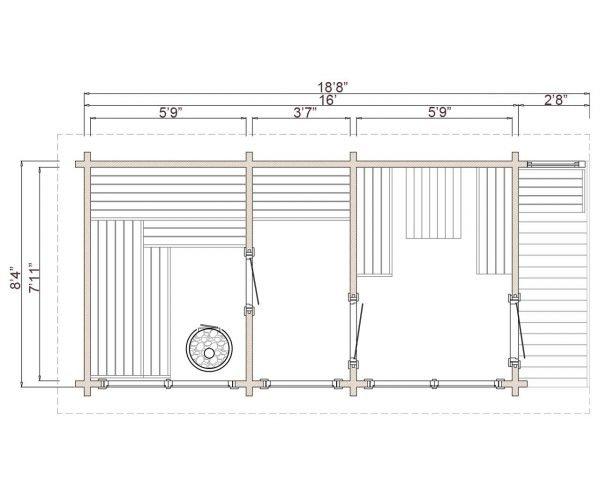 Novus lux sauna floor plan