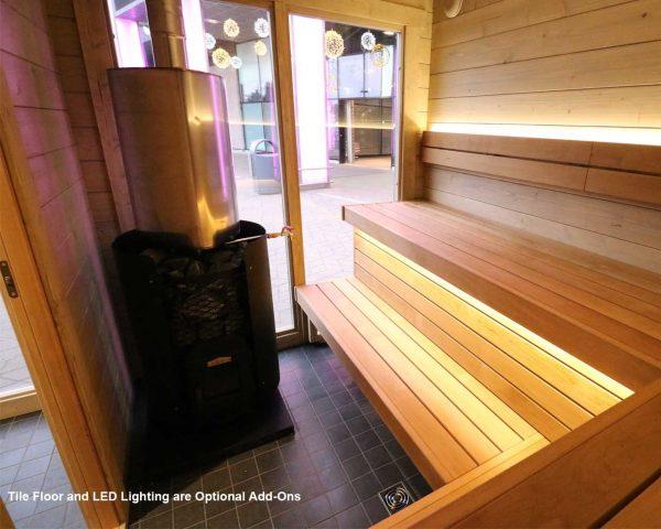 Luxury outdoor sauna kit Novus Lux interior