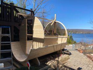 W29 barrel sauna assembly