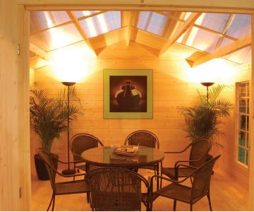 Skylights bring a lot of natural light into the cabin